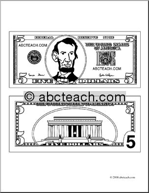 Five dollar bill clipart clipart suggest for One dollar bill coloring page