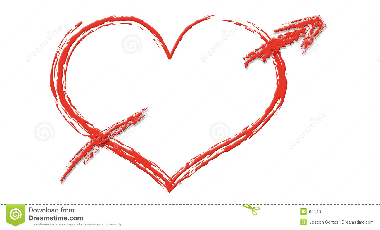 Clipart Like Illustration Of A Red Outline Heart With An Arrow