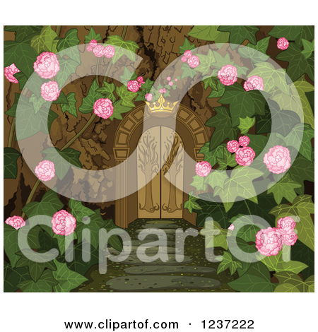 Clipart Of A Crown Over A Gate To A Secret Garden   Royalty Free