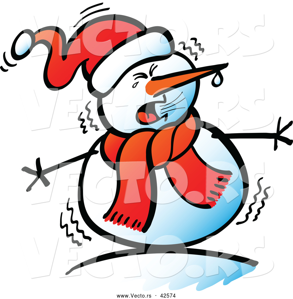 Cold Weather Clip Art Vector Of A Cartoon Snowman Shivering In The