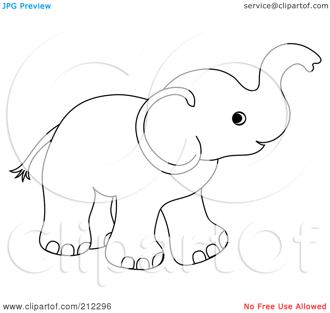 Baby Elephant Outline Clipart - Clipart Kid