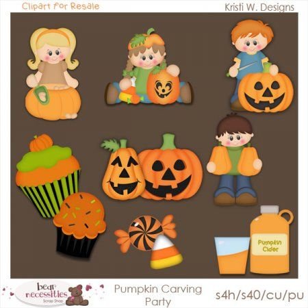 Pumpkin Carving Party Clipart For Resale   Scrabooking Ideas 2   Pint