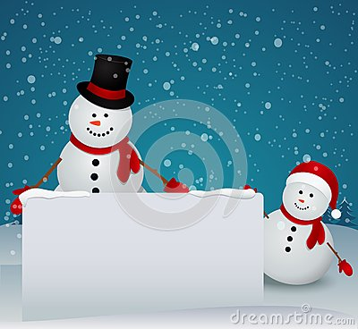 Snowman Family In Christmas Winter Scene With Sign Royalty Free Stock