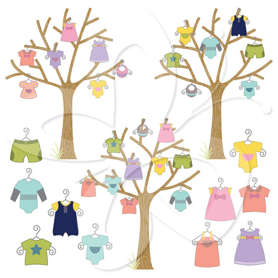 Baby Clothes Trees Digital Clip Art Clipart Set   Personal And