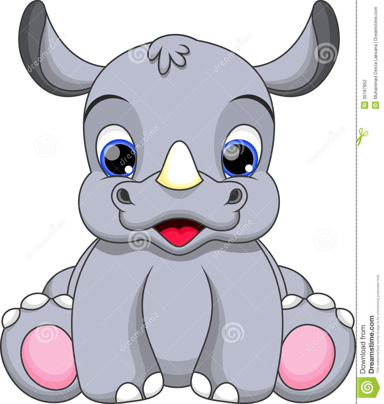Baby Rhino Clip Art Baby Rhino Cartoon Stock