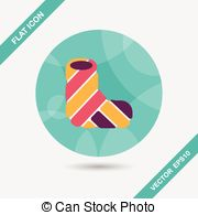 Broken Leg Plaster Flat Icon With Long Shadow Clipart Vector