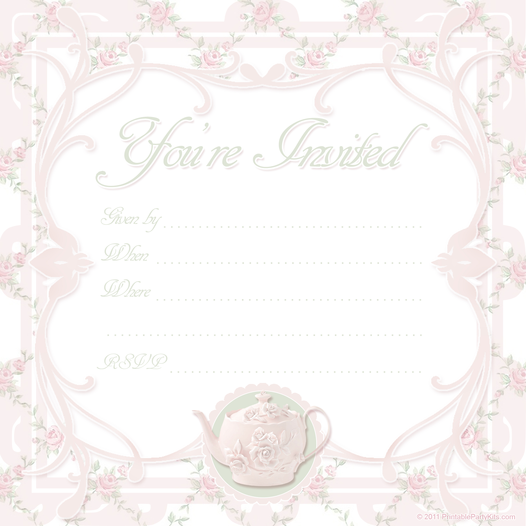 Click On The Free Printable Tea Party Invite Template Below To Enlarge