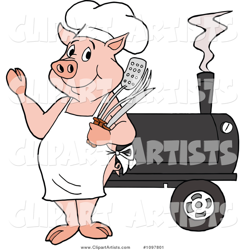 Clipart Bbq Pig Chef Wearing Apron Shades And Holding Spatula