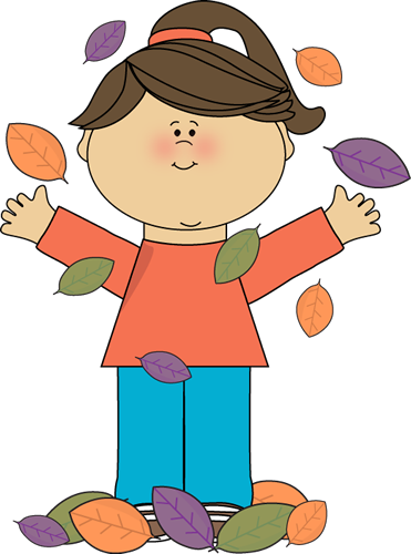 Girl Playing In Autumn Leaves Clip Art   Girl Playing In Autumn Leaves