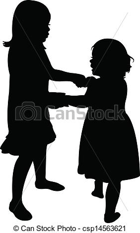 Happy Sisters Playing Silhouette Vector Csp14563621   Search Clipart
