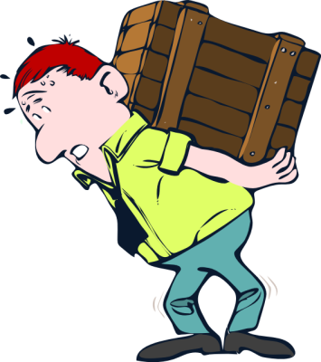 Hilarious Worker Free Clipart  Funny Overloaded Worker Sweats Carrying