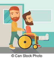 Man Pushing The Wheelchair With Broken Leg Patient  Clip Art