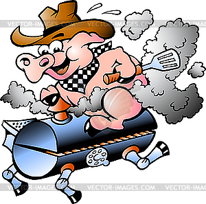 Pig Riding On Bbq Barrel   Vector Clipart