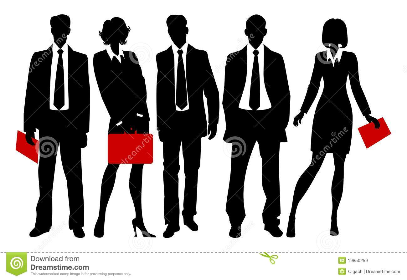 Silhouettes Of Business People   Men And Women In Suits