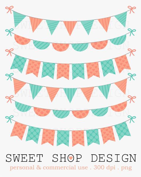 Sweet Shop Design Birthday Bunting Clip Art Baby Shower Clip Art ...