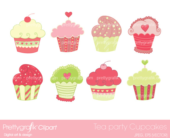 Tea Party Cupcakes Clipart   You Will Receive    Each Clipar