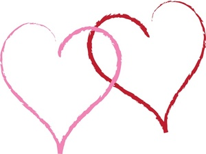 Two Hearts Clipart Image   A Red And Pink Interlocking Heart Design