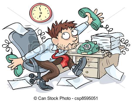 Vector Clip Art Of Office Worker   Office Worker Working Hard And