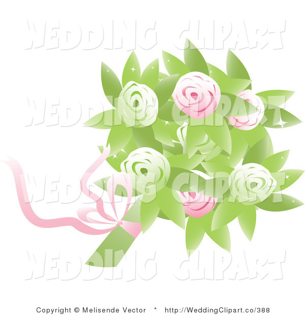 Vector Marriage Clipart Of A Wedding Bridal Bouquet Of Pink And Green
