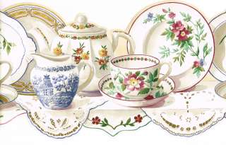 Vintage Teapot Tea Cup China Dish Plate Saucer Shelf Wall Paper Border