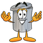 28227 Clip Art Graphic Of A Metal Trash Can Cartoon Character With