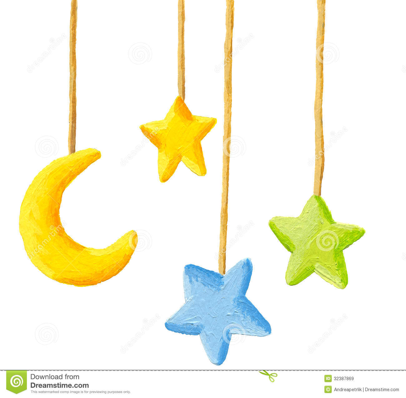 Baby Crib Hanging Mobile Toy   Moon And Stars Royalty Free Stock