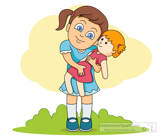 Children   Girl Playing With Doll   Classroom Clipart