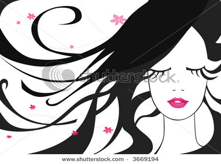 Clip Art Illustration Picture Of A Dark Haired Beauty Eyes Closed