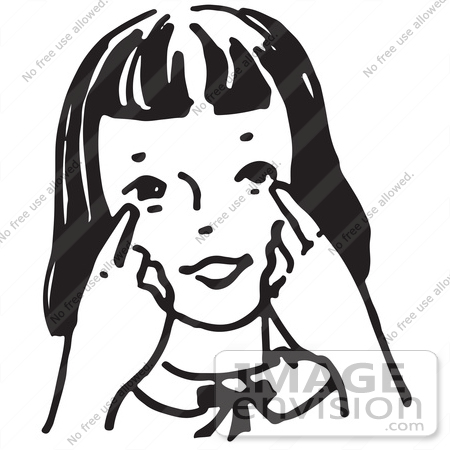 Clipart Of A Girl Pointing To Her Eyes In Black And White   Royalty