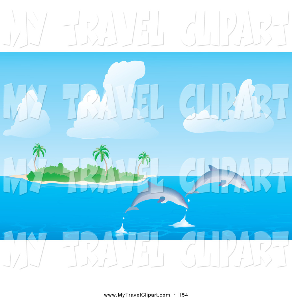 Clipart Of A Two Dolphins Jumping Out Of The Sea Water Near A Tropical