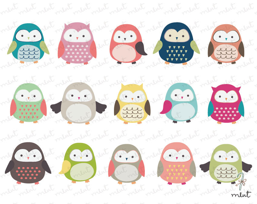 Cute Owl Clip Art 15 Digital Clipart Set For By Memomint On Etsy