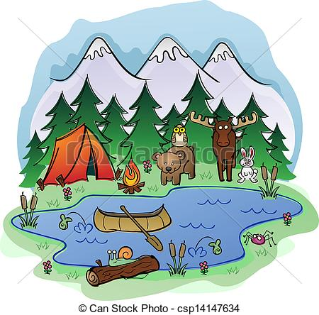 Day Camping Scene In The Forest And Mountains With A Group Of