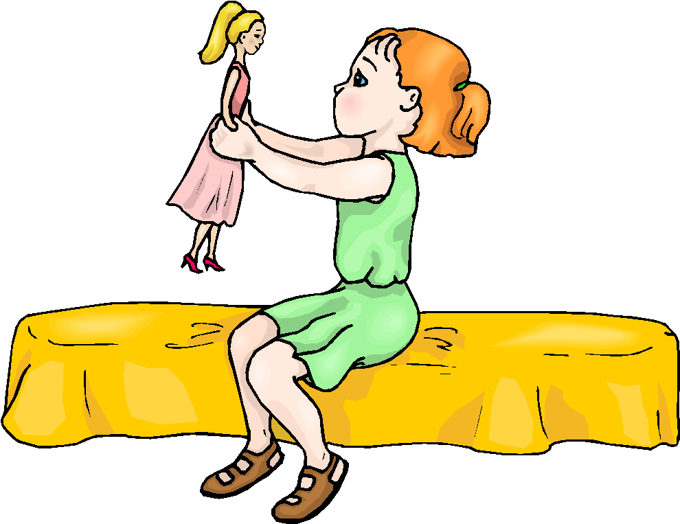 Girl Play With Doll Free Clipart