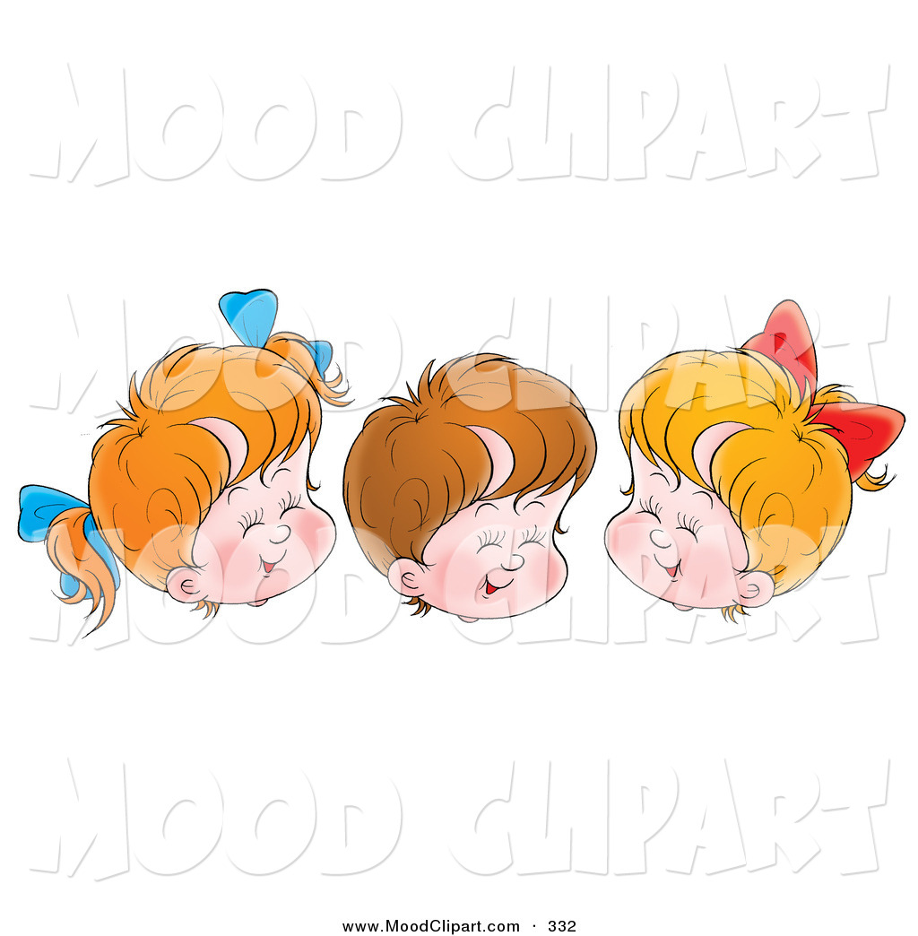 Larger Preview  Mood Clip Art Of A Trio Of Children Two Girls And One