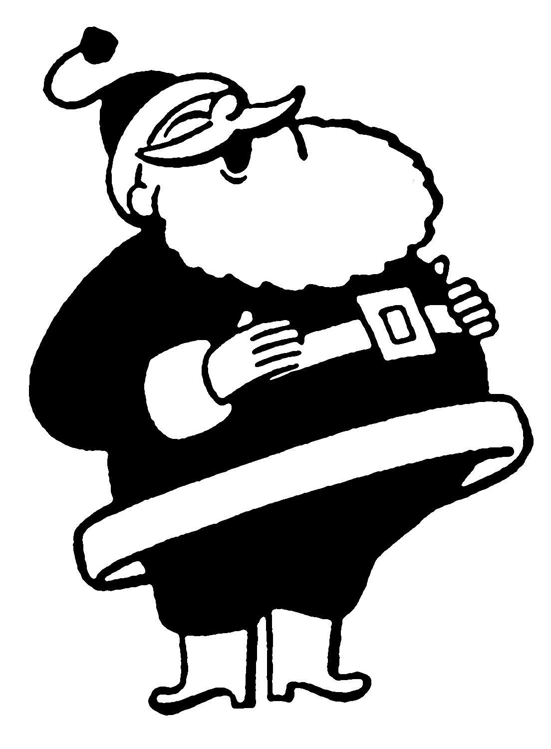 Vintage Santa Black And White Clipart - Clipart Kid