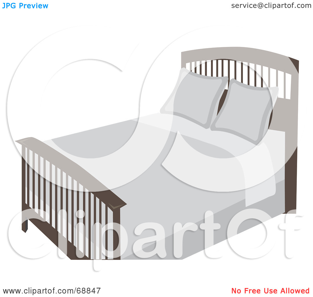Royalty Free  Rf  Clipart Illustration Of A Freshly Made Bed With Off