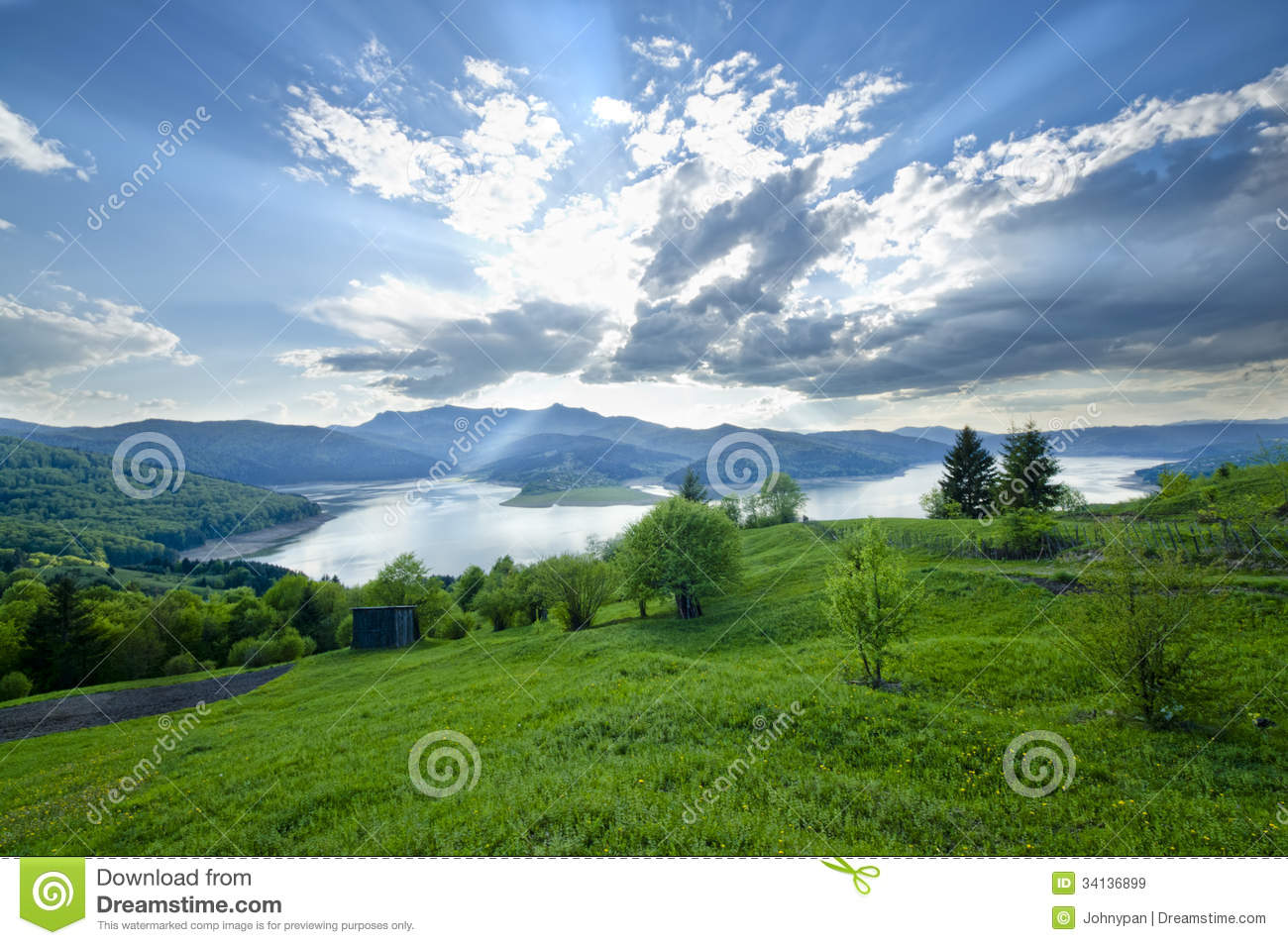 Rural Scene Of Mountain And Lake At Summer Romanian Carpathians