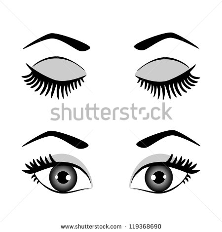 Silhouette Of Eyes And Eyebrow Open And Closed Black White Vector
