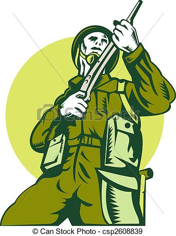 Stock Illustration   World War Two British Soldier With Rifle   Stock