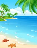 Summer Scene Vector Landscape Palm Tree On The Beach Vector Summer