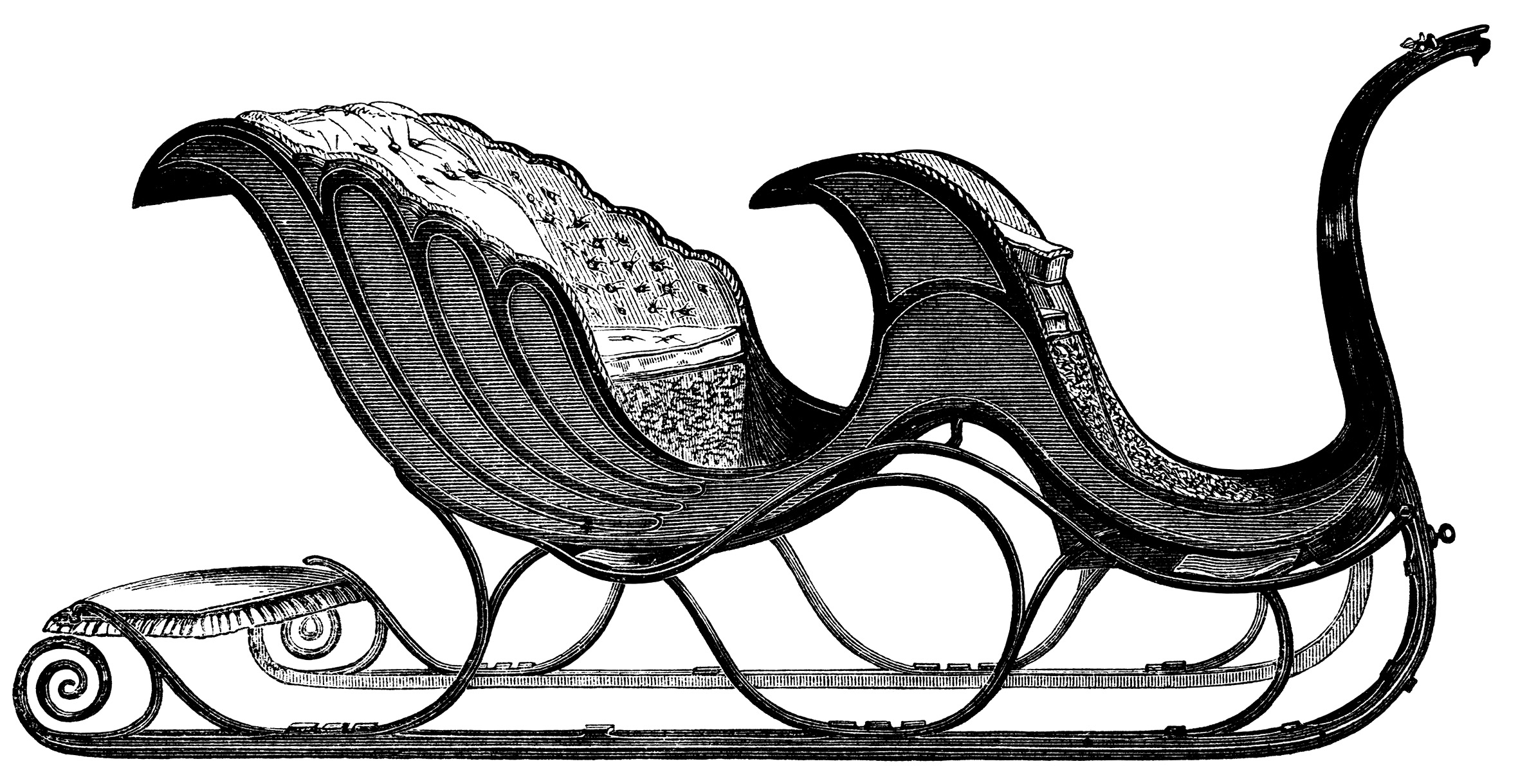Vintage Clip Art Sleigh Free Black And White Clipart Victorian