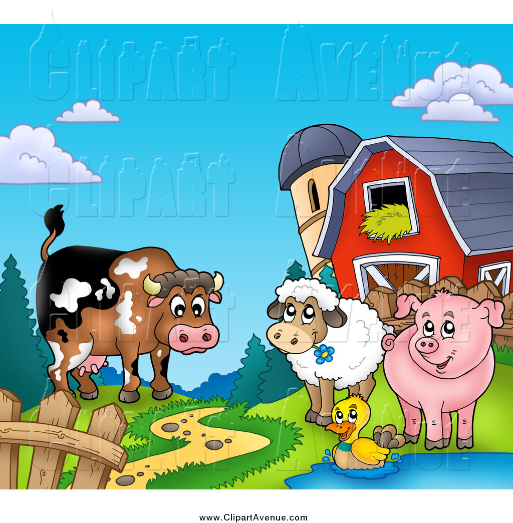 Avenue Clipart Of A Happy Cow Sheep Duck And Pig By A Path Silo And