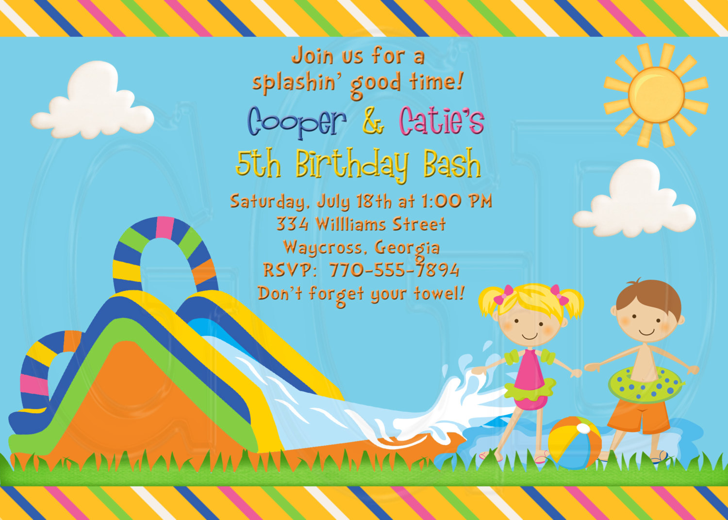 Birthday Pool Party Clipart Clipart Kid – Water Slide Party Invitations