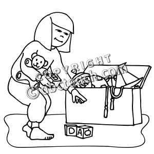 Clip Art  Kids  Chores  Picking Up Toys  Coloring Page    Preview