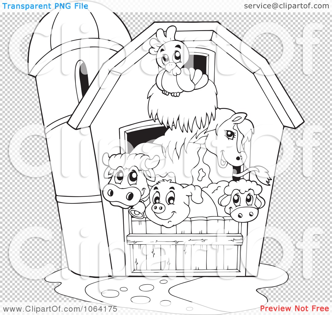 Clipart Outlined Barnyard Animals In A Barn   Royalty Free Vector