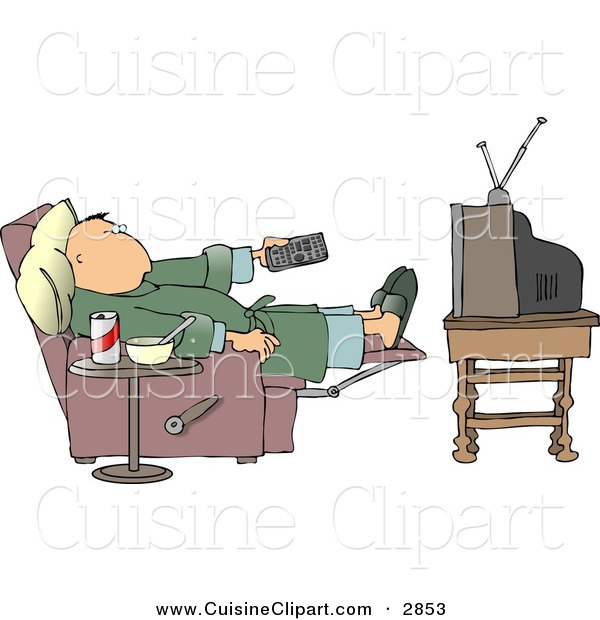 Cuisine Clipart Of A Lazy Couch Potato Man Holding The Tv Remote