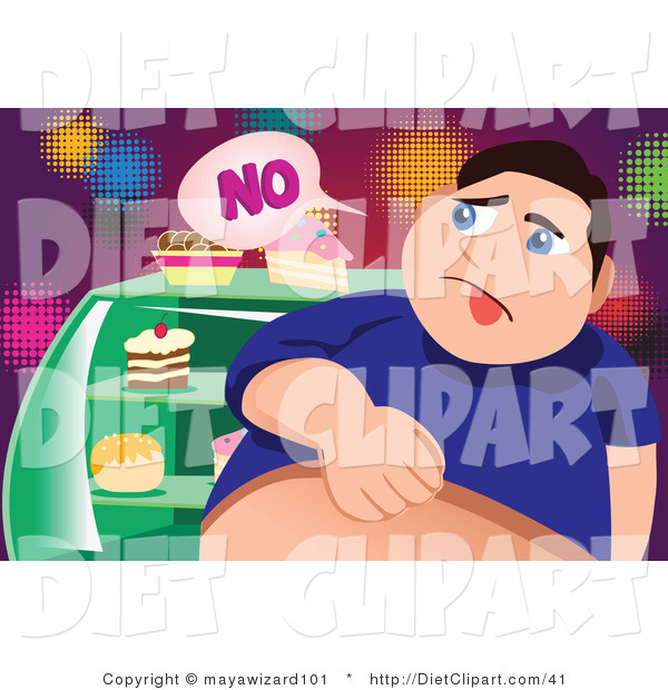 Diet Clip Art Of A Fat Man Saying No To Sweets By Mayawizard101    41