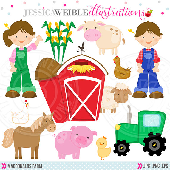 Farm Cute Digital Clipart   Commercial Use Ok   Farmer Clipart