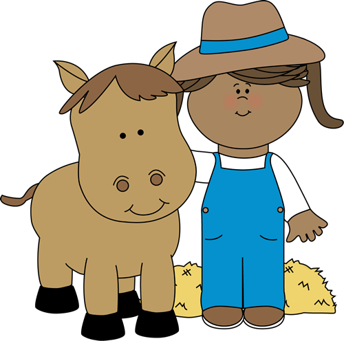Farm Girl With A Horse Clip Art Image   Farm Girl With An Arm Around A