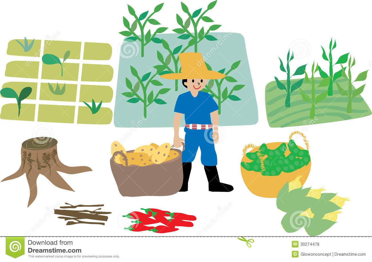 Farmer With Farm Ecosystem Elements Royalty Free Stock Photos   Image